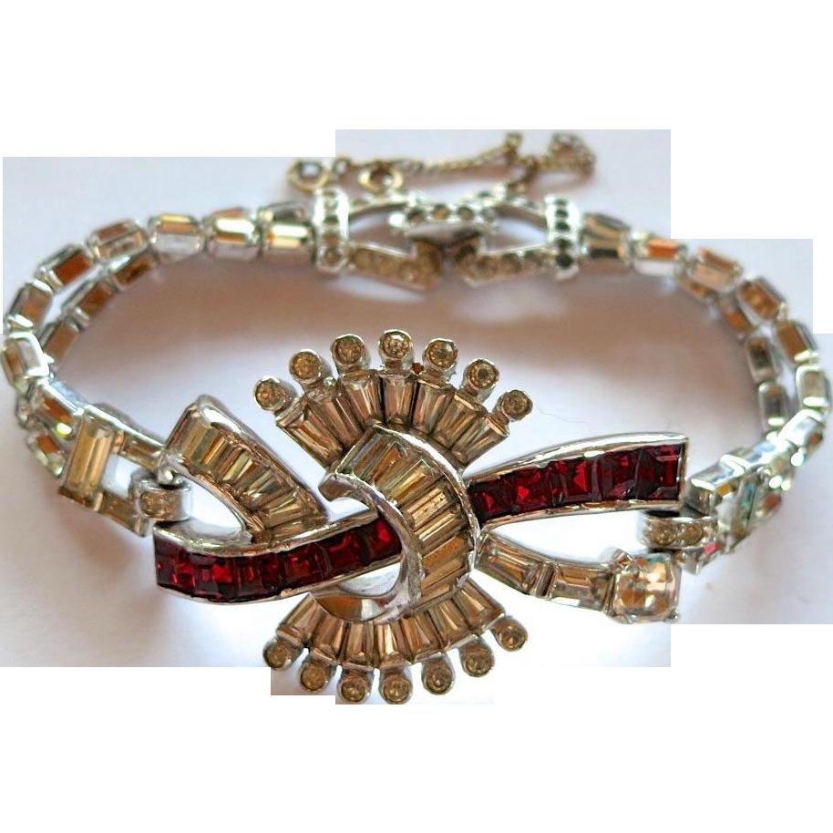 Mazer Bros. Red and Clear Rhinestone Bracelet