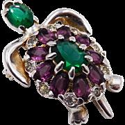 Vintage Mazer Purple Green Rhinestone Turtle Brooch
