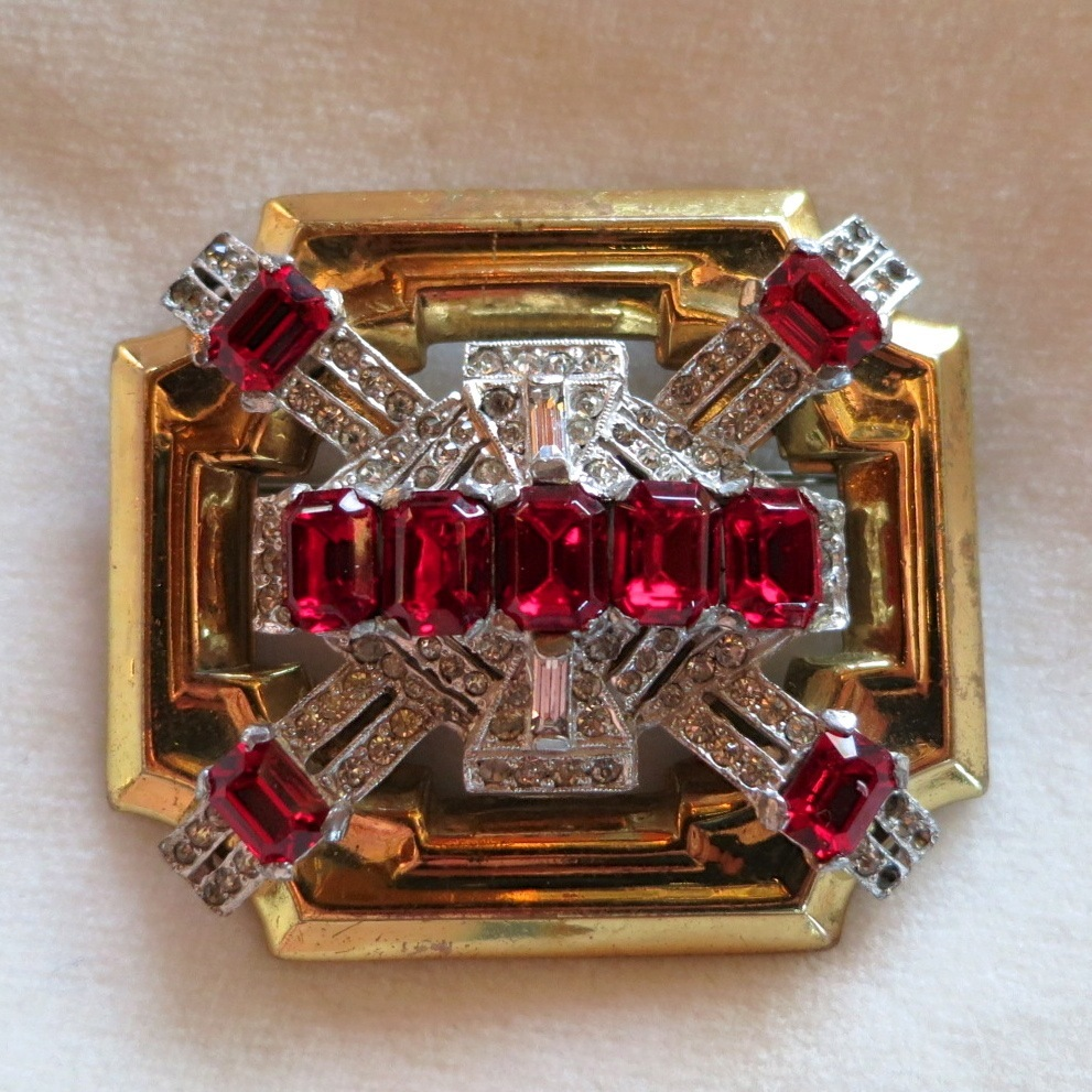 McClelland Barclay Red Rhinestone Brooch