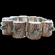 Mexican Sterling Silver Turquoise Barrel Link Bracelet 1940's