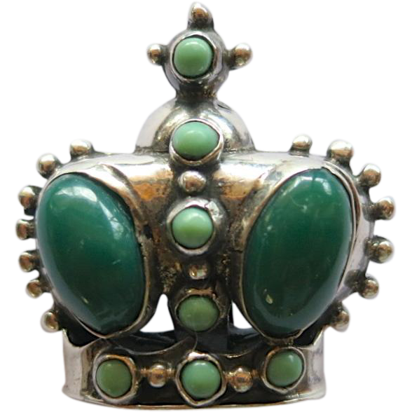 Mexican Silver Crown Brooch with Green Glass Cabochons
