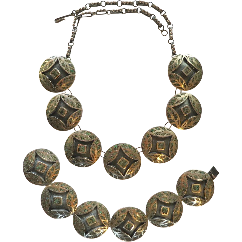 Vintage Mexican 1940's Sterling Turquoise Matrix Inlay Necklace and Bracelet