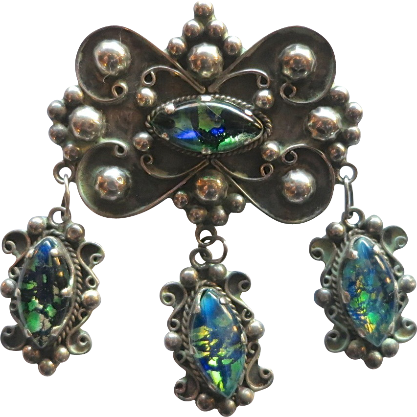 Mexican Silver Brooch with Foil Art Glass Stone Dangles