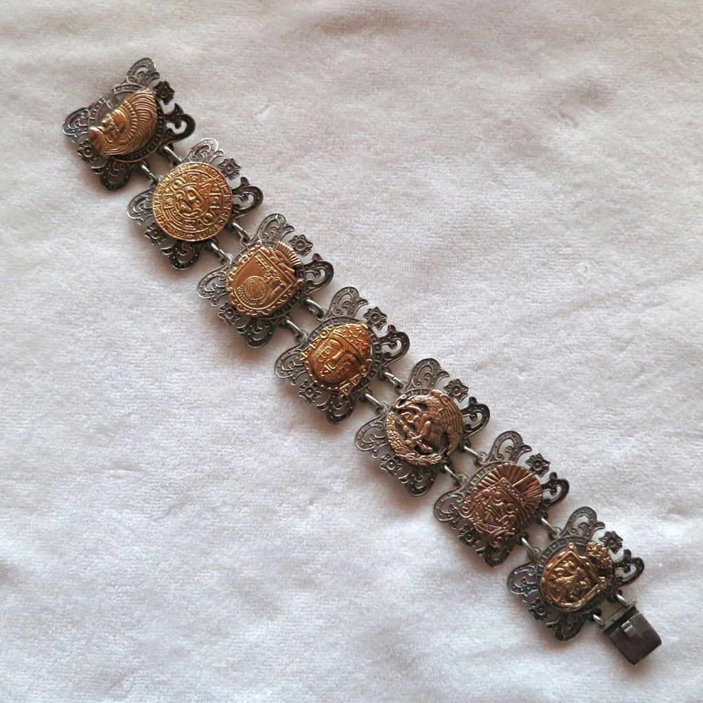 Reserved!!!  Mexico Sterling Bracelet with Golden Aztec Designs