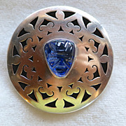 Mexico Sterling Carved Blue Glass Mask Pendant