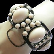 Vintage Milk Glass High Dome Cabochon Clamper Bracelet