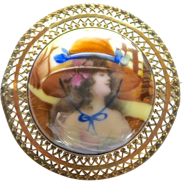 Beautiful Portrait Miniature Brooch