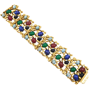 Vintage Modernist Bracelet with Faux Gemstone Glass Cabochons