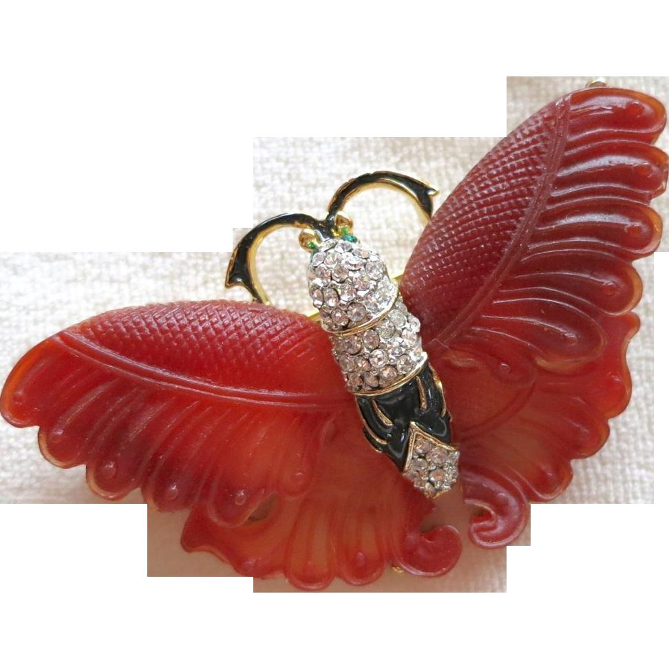 Large figural butterfly rhinestone brooch