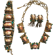 Etruscan Revival Style Green Rhinestone Brown Art Glass Cabochon Necklace Bracelet Earrings