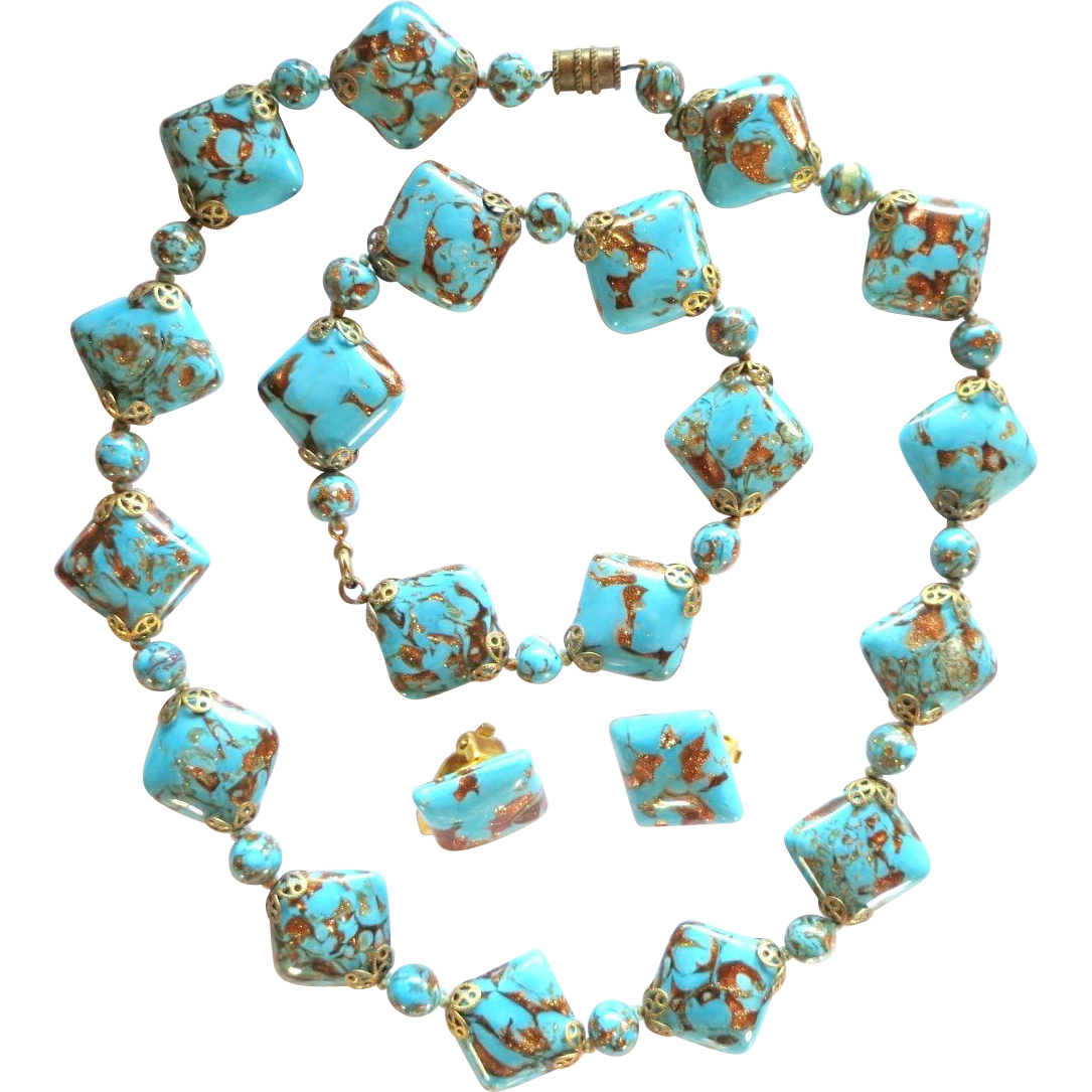 Vintage Murano Italy Sommerso Aventurine Blue Gold Glass Beads Parure