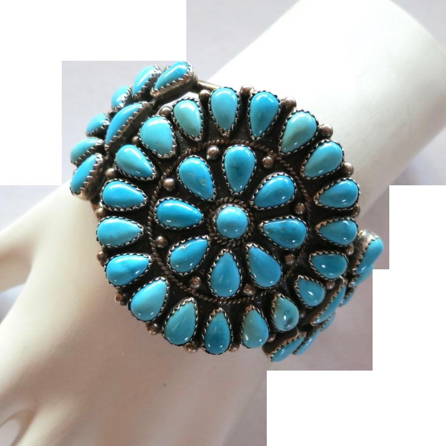 Vintage Sterling NA Turquoise Cluster Bracelet