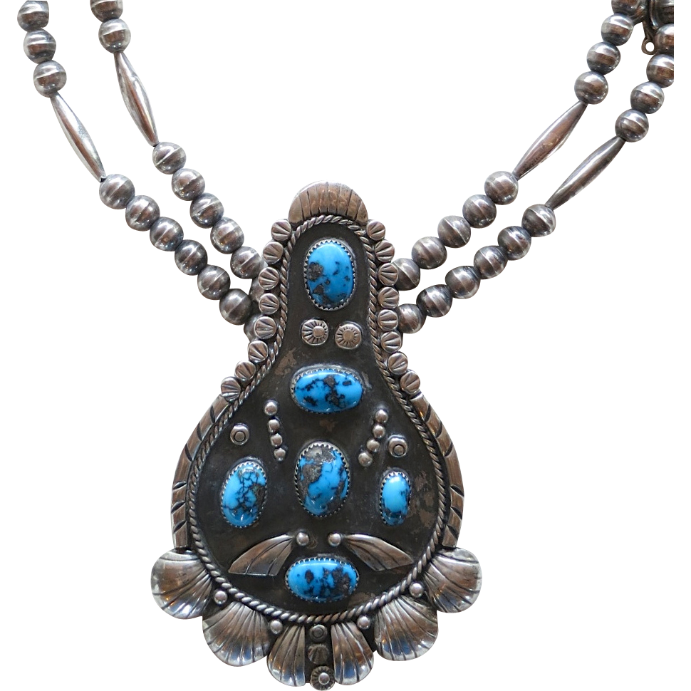 american silver turquoise pendant necklace bp