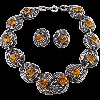 Vintage Napier 1950s Cut Steel Topaz Rhinestone Necklace Set Book Piece