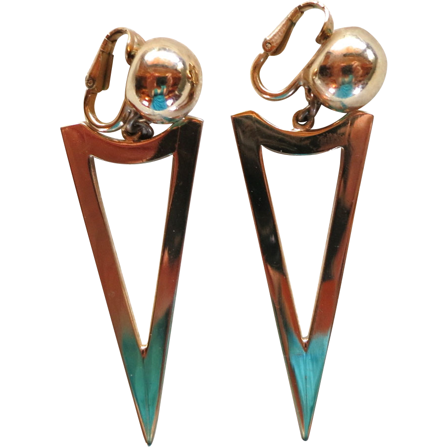 Long Napier gold tone geometric clip earrings