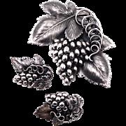 Huge Napier Danish Grape Leaf Brooch Earrings Set Book Piece!