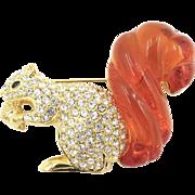 Vintage Nolan Miller Rhinestone Squirrel Brooch Lucite Tail