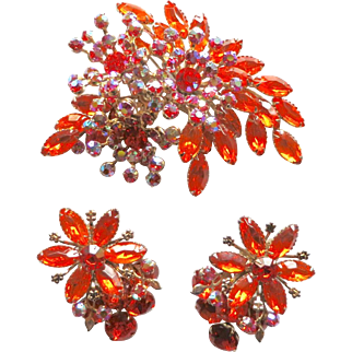 Vintage Large Orange Hyacinth AB Rhinestone Spray Brooch Set