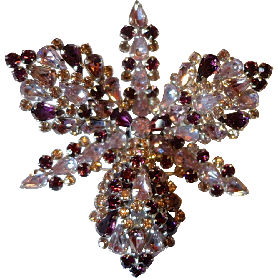 Large Shades of Purple Rhinestone Orchid Brooch