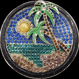 Vintage Rhinestone Enamel Palm Tree Island Brooch