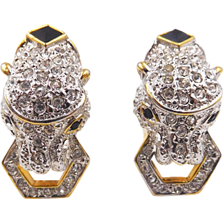 Vintage 1980s Rhinestone Panther Clip Earrings