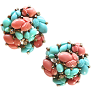Alfred Philippe Trifari Fruit Pastel Salad Faux Coral and Faux Turquoise Clip Earrings