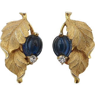 Vintage Pennino Leaf Blue Glass Fruit Earrings