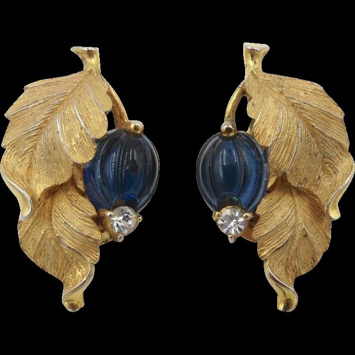 Vintage Pennino Leaf Blue Glass Fruit Earrings