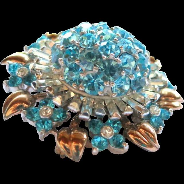 Vintage Pennino Sterling Aqua Clear Rhinestone Brooch