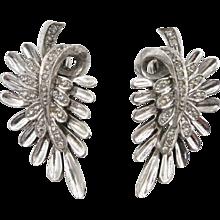 Vintage Pennino Sterling Leaf Rhinestone Clip Earrings - Red Tag Sale Item
