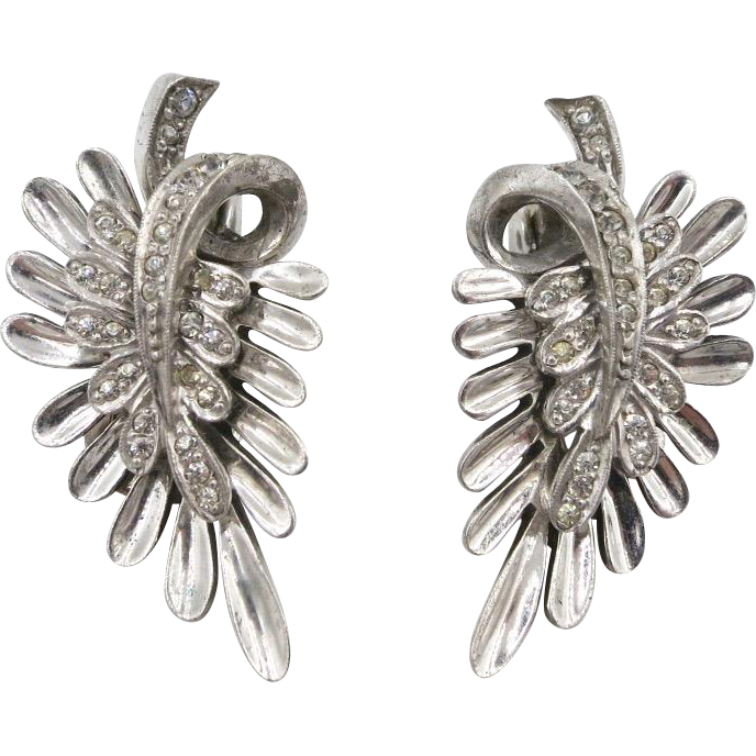 Vintage Pennino Sterling Leaf Rhinestone Clip Earrings