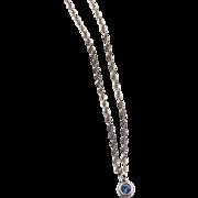 Tiffany and Co. Elsa Peretti Sterling Aquamarine Pendant Necklace