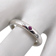 Tiffany and Co. Elsa Peretti Sterling Pink Sapphire Stack Ring Sz 5