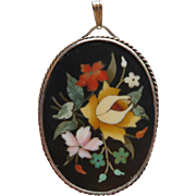 Vintage Sterling Silver Pietra Dura Floral Pendant