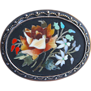 Gorgeous Floral Pietra Dura Mosaic Pin Pendant Sterling Vermeil