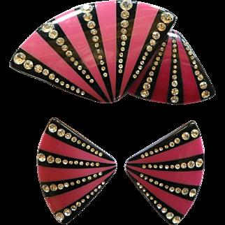 Pink Black Striped Lucite Rhinestone Fan Brooch and Clip Earrings Set