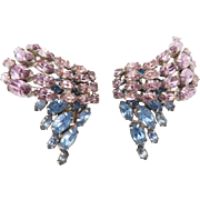 Vintage Pale Purple Blue Rhinestone Clip Earrings