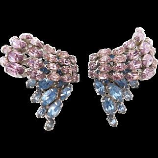Vintage Pale Purple Blue Rhinestone Clip Earrings