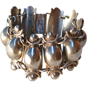 Vintage Prieto Mexican Sterling Silver Coffee Bean Style Bracelet 1940's