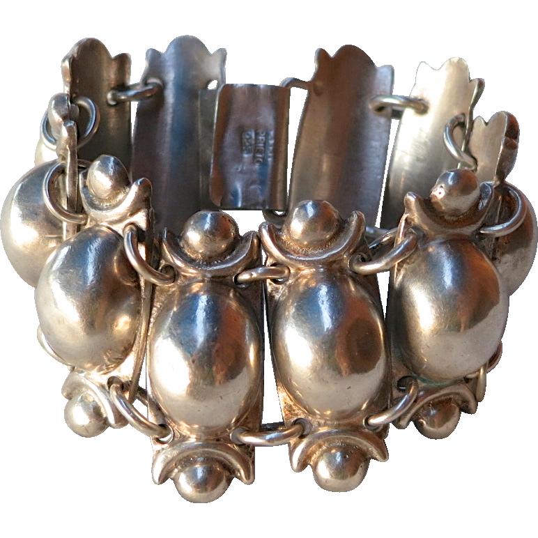 Vintage Prieto Mexican Sterling Silver Coffee Bean Style Bracelet 1940's