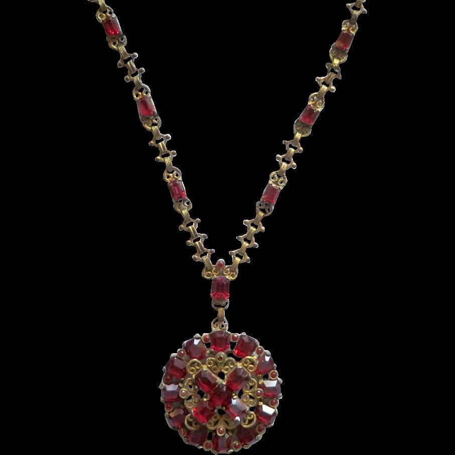 Deep Cranberry Red Rhinestone Czech Pendant Necklace