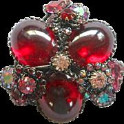 Unsigned Schreiner Red Cabochon AB Rhinestone Pin Pendant