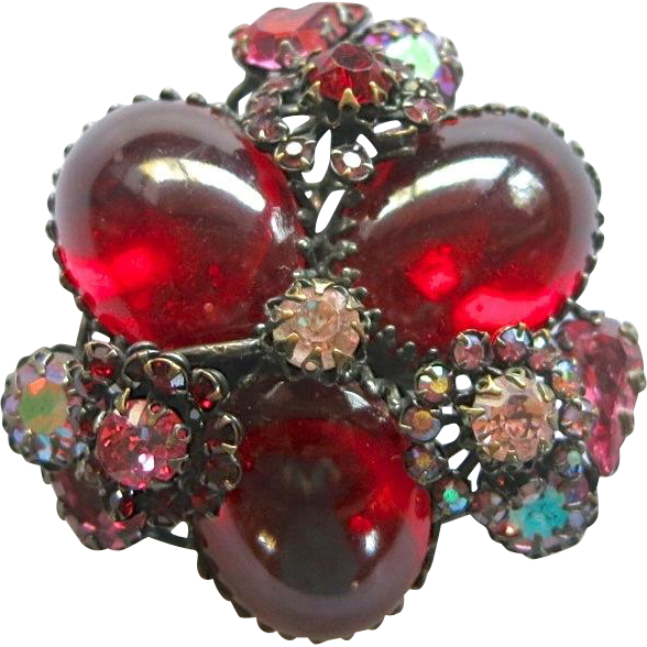 Unsigned Schreiner Red Cabochon AB Rhinestone Pin Pendant