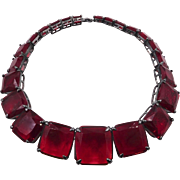 Vintage French Red Caged Glass Necklace