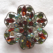 Large (unsigned) Regency Floral Rhinestone Brooch