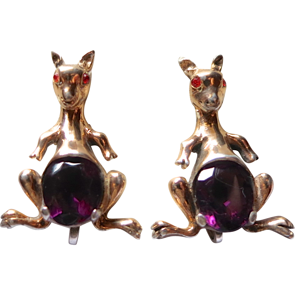 Rare Unsigned Reja Sterling Kangaroo Rhinestone Earrings