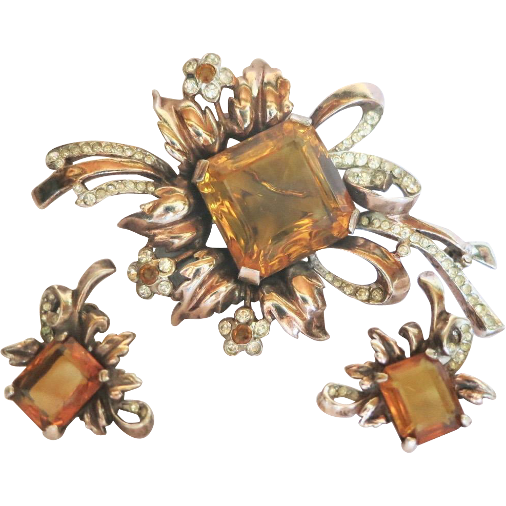 Vintage Reja Sterling Faux Topaz Citrine Rhinestone Floral Spray Brooch Earrings Set 1940s
