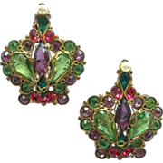 Original by Robert Rhinestone Crown Brooches