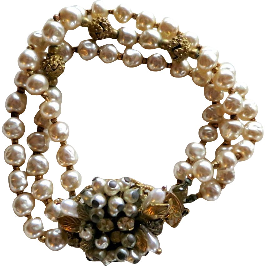 Original by Robert 3 Strand Faux Baroque Pearl Bracelet