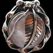 Large Rose Quartz Sterling Artisan Ring